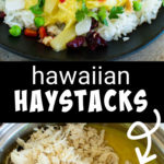 Two images of Hawaiian haystacks with curry.