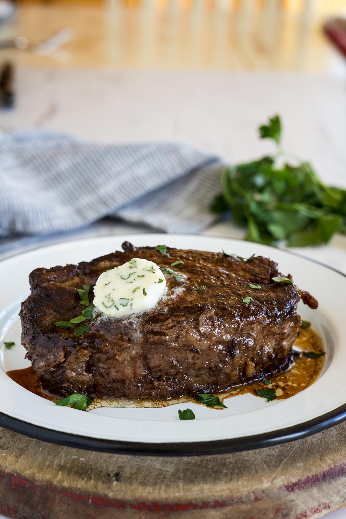 Beef tenderloin steak with butter.
