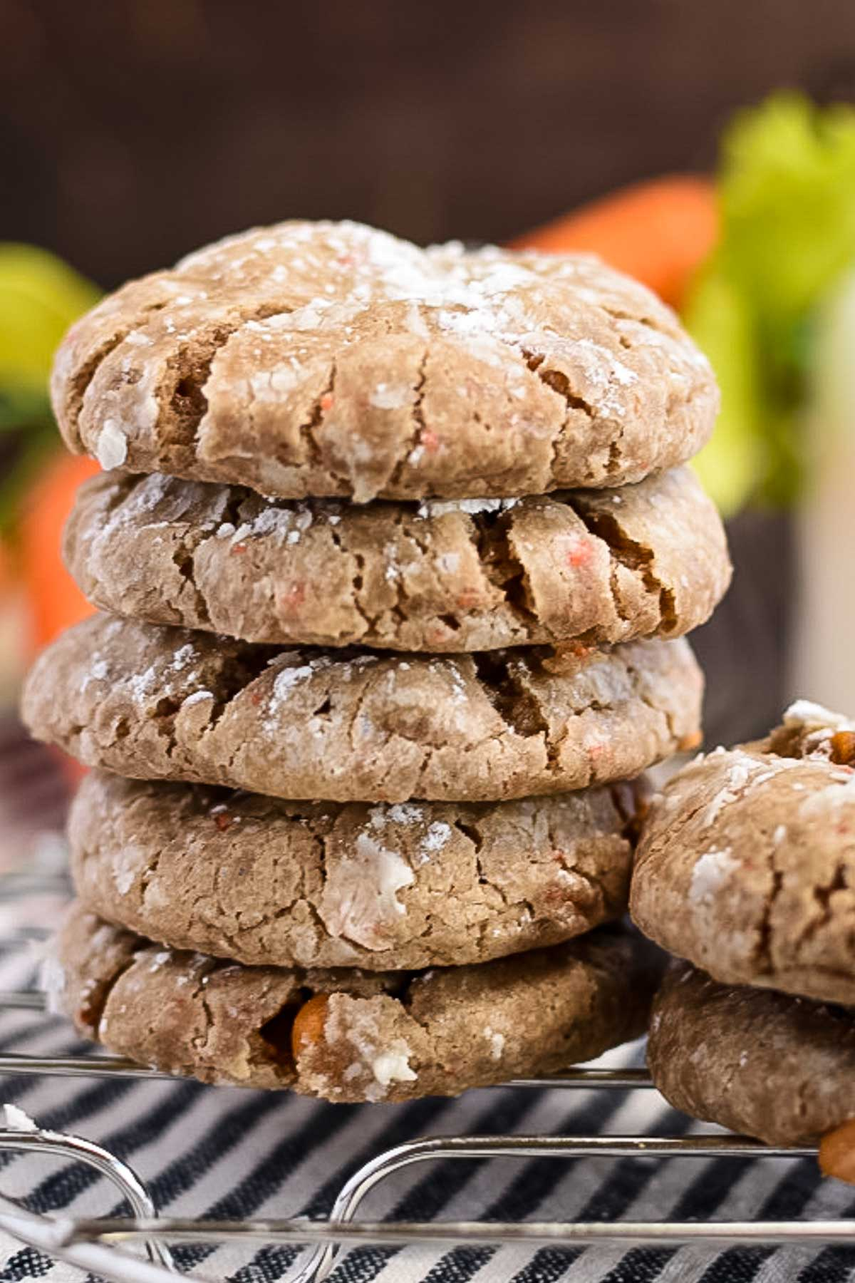 Thick carrot cake mix cookies in a stack.