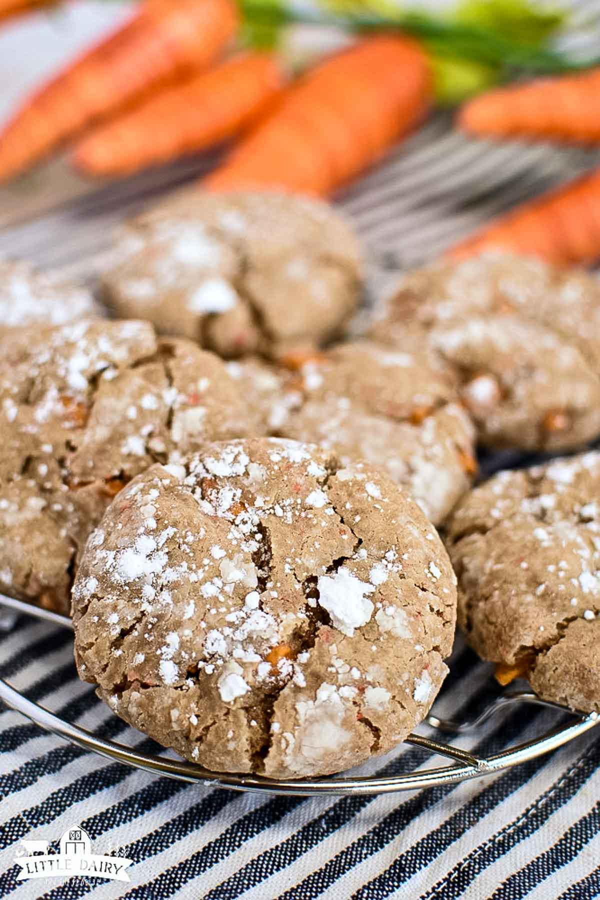 Carrot cookies on a cooling rack.
