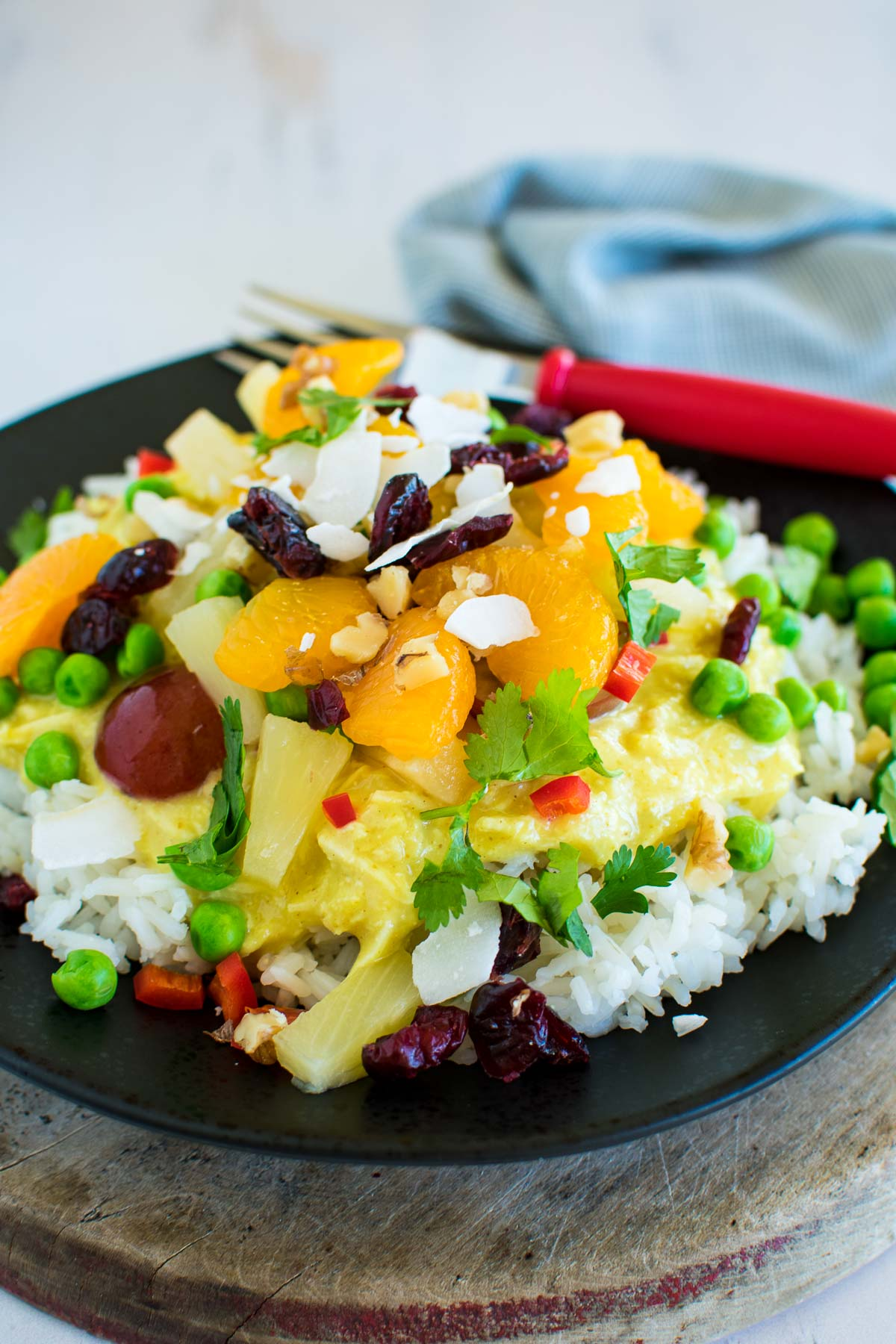 Hawaiian haystacks recipe with pineapple and other toppings.