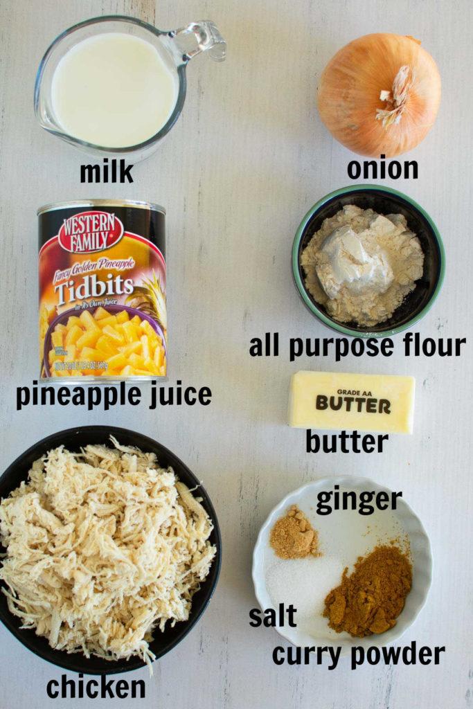 Ingredients needed to make Hawaiian haystacks recipe.