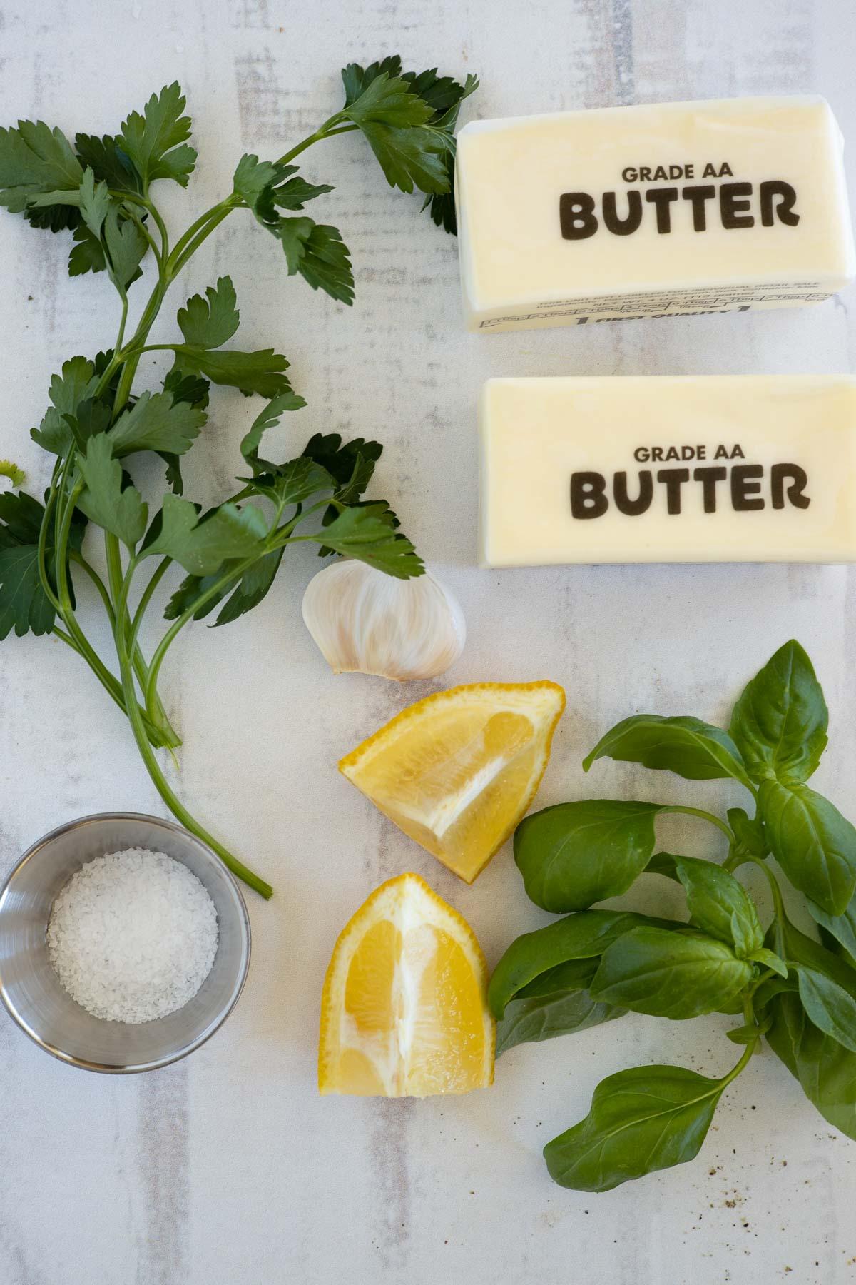Ingredients to make garlic herb butter.
