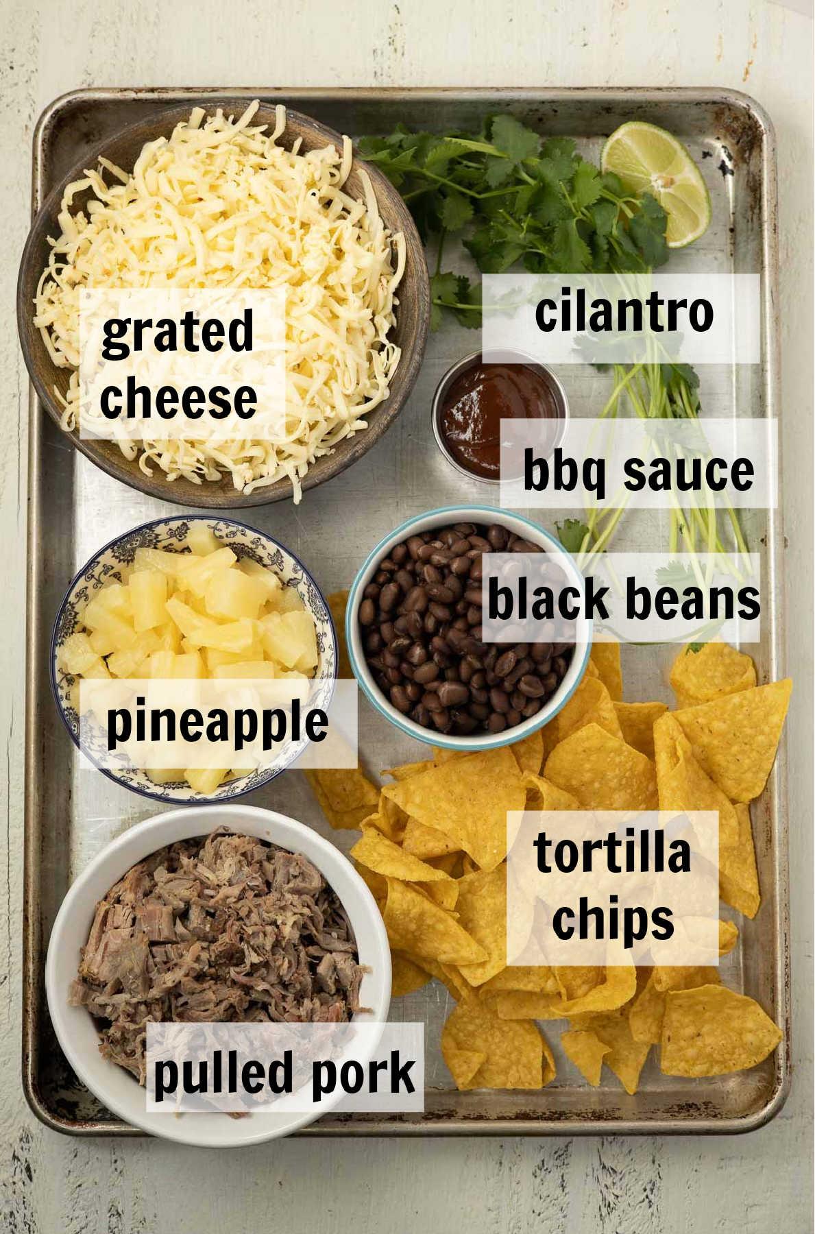 Ingredients to make pork nachos.