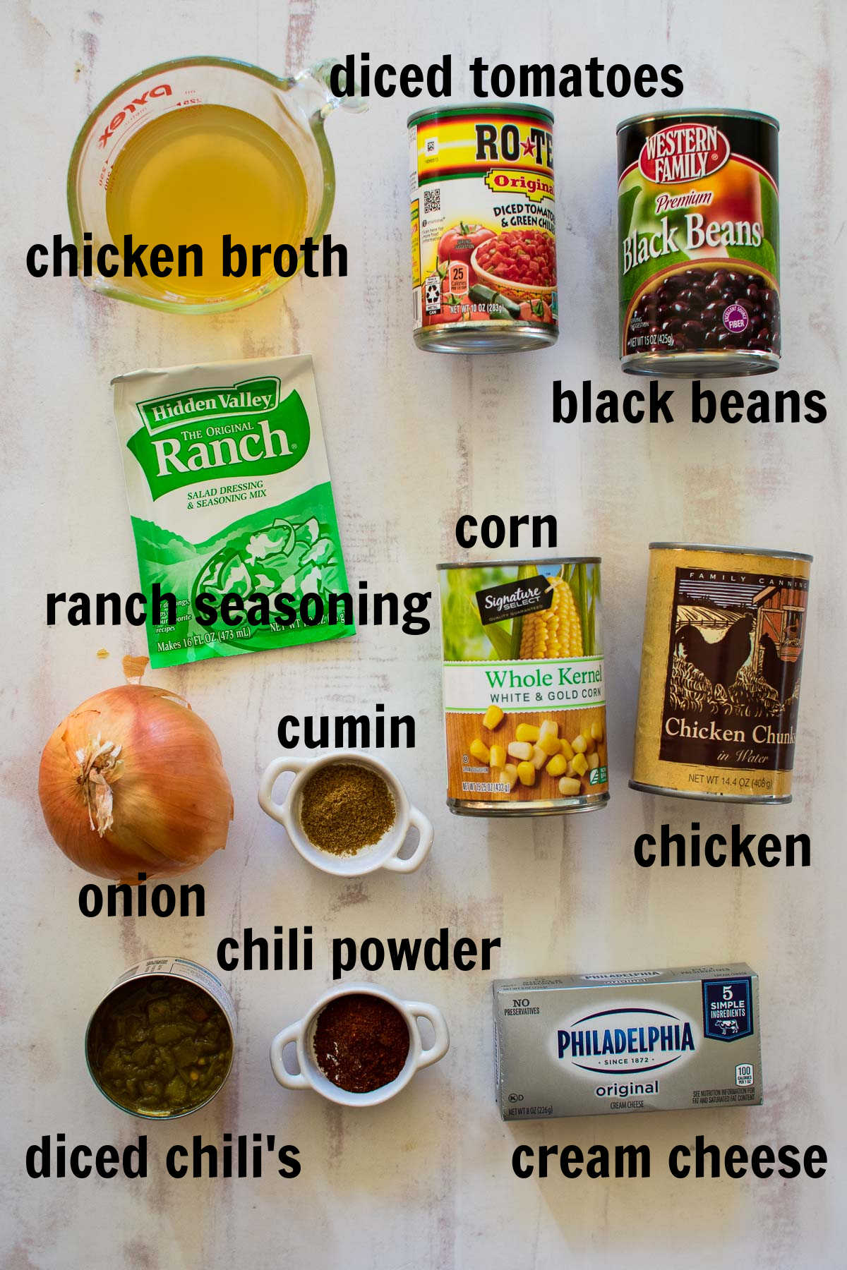 Ingredients to make chicken chili with cream cheese.