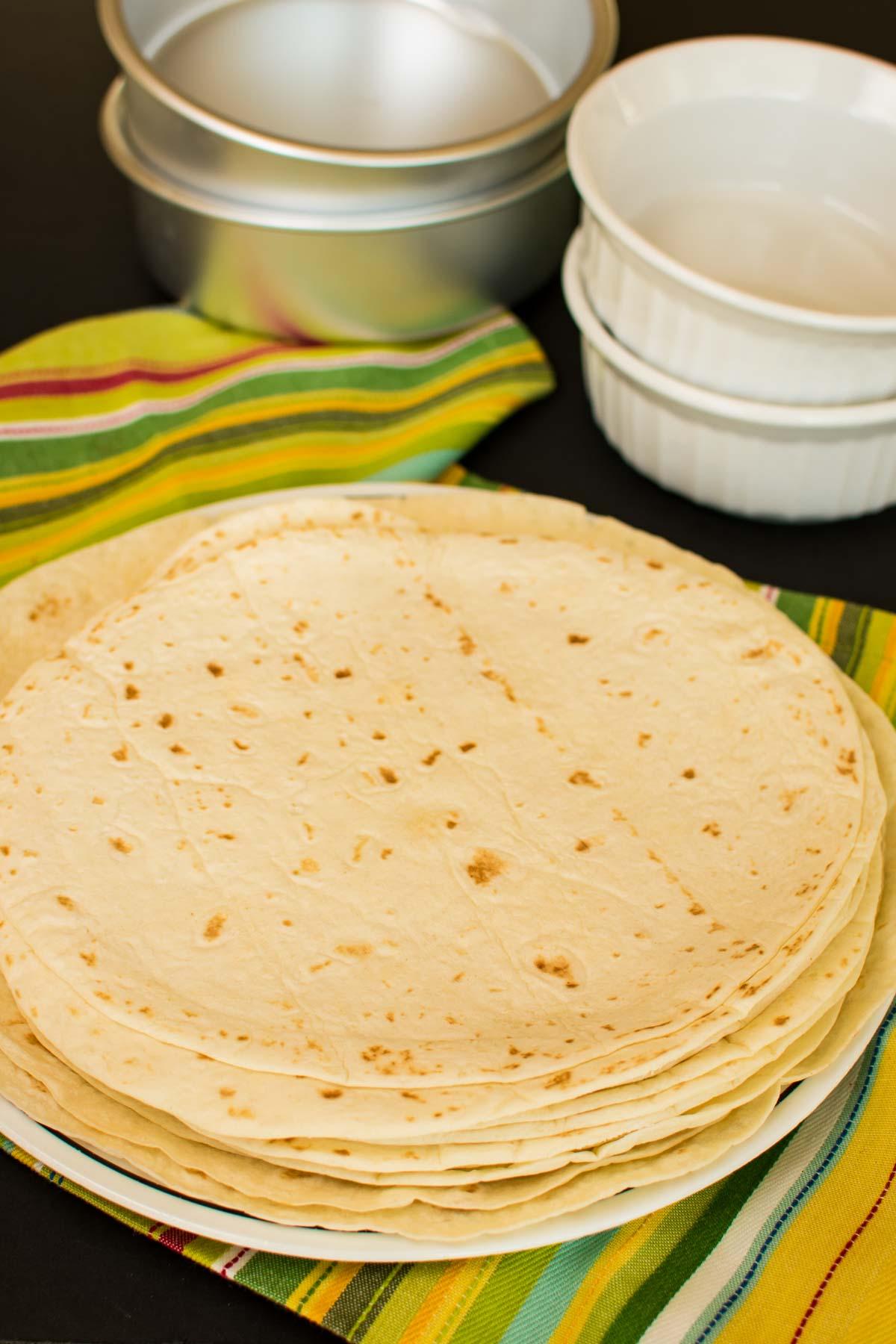 A stack of flour tortillas.