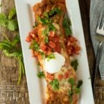 Shredded Beef Enchilada from the top view.