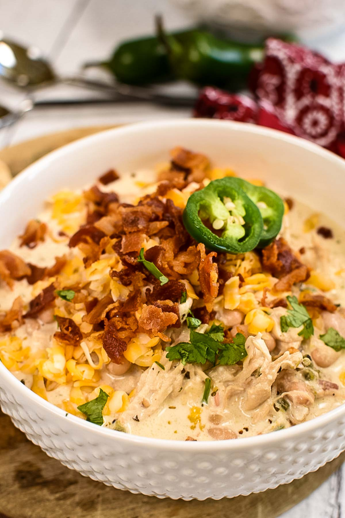 Jalapeno Soup with bacon, chicken, and cheese.