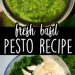 Two images showing how to make pesto out of garlic, parmesan cheese, basil, parsley, and olive oil.
