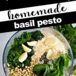 Image with graphics about how to make fresh pesto.