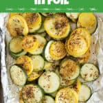 An image of grilled zucchini in a foil pack.