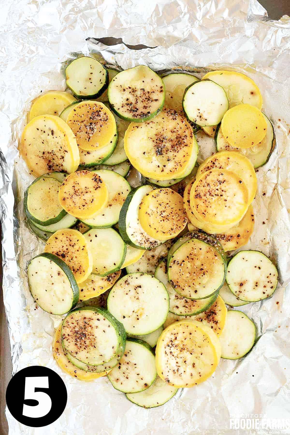 Grilled zucchini and squash in a foil pack.