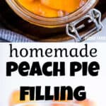 Two images showing how to make peach pie filling.