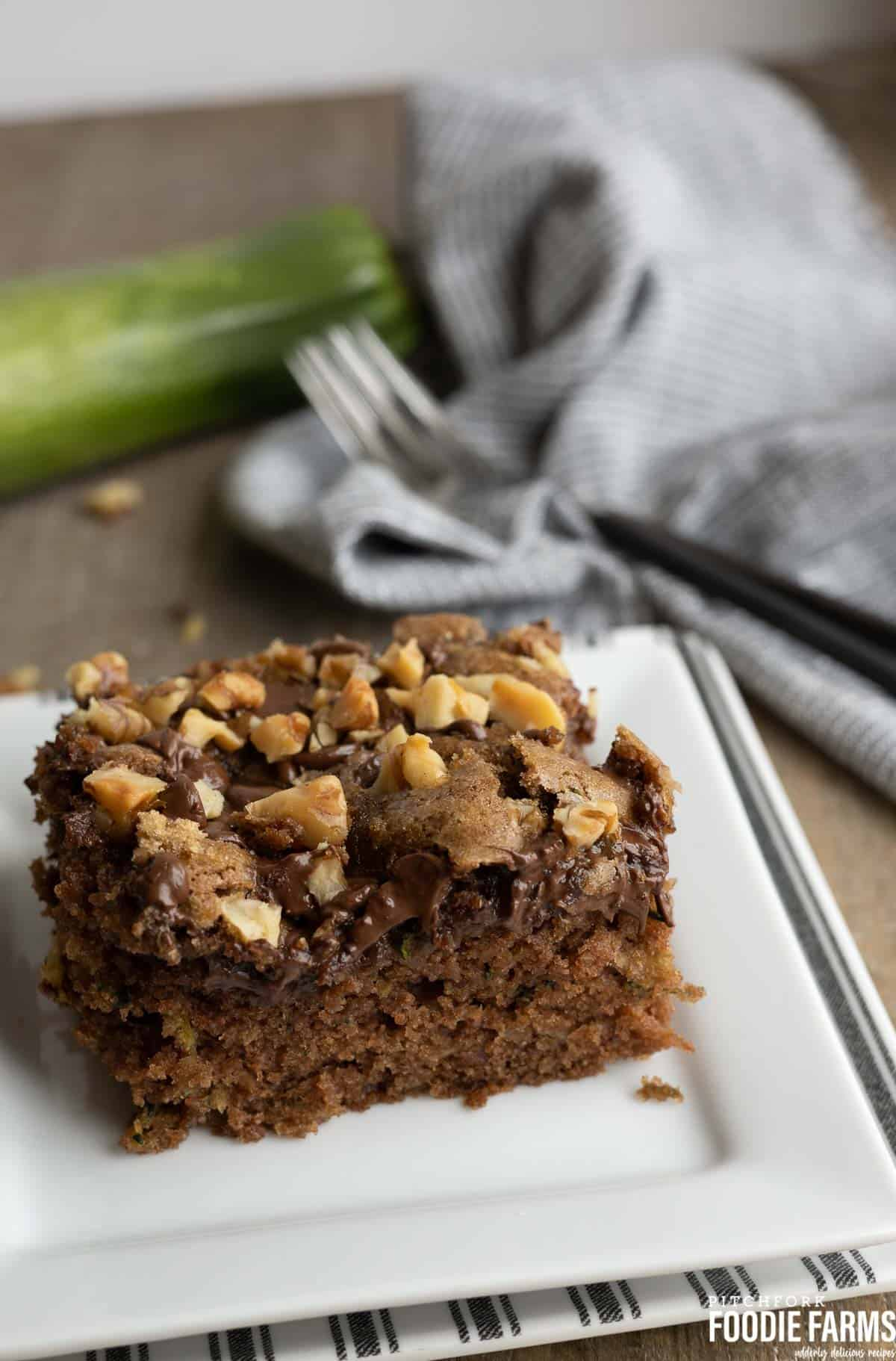 Zucchini Cake with chocolate chip and walnuts on top to make streusel.